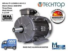 5.5 HP Electric Motor, METRIC, 3600 RPM, 3-Phase, Rigid Base