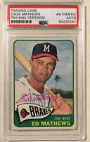 1965 Topps EDDIE MATHEWS Signed Baseball Card PSA/DNA #500 Milwaukee Braves HOF
