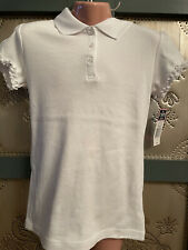 Chaps Approved Schoolwear White Polo Shirt Cap Ruffle Sleeves Girl Sz M 8-10 Nwt