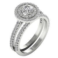 Halo Solitaire Wedding Bridal Ring I1 G 1.50 Ct Round Cut Diamond Set 14K Gold