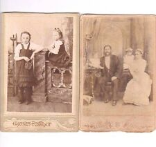 Lot of 2 two Old Russian family photos photo Cabinet Portrait