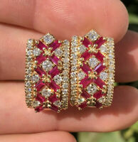 5 Ct Red Ruby & Diamond Cluster Omega Back Earrings 14K Yellow Gold Finish