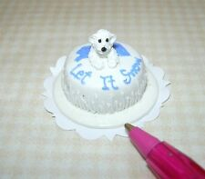 "Miniature ""Let It Snow"" Polar Bear Cake for Winter Season DOLLHOUSE, 1/12 Scale"