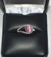 GLAMOROUS 1.28ct NATURAL OPAL CATS EYE PLATINUM OVERLAY STERLING  SILVER RING