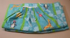(1) Pair Lined Gathered Curtains ~ Aqua Multi Animals ~ 48 W x 61 L Ea Panel