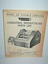 Triumph Model 44 Double Surfacer Planer Operating Instructions Catalog Manual