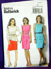 Uncut Butterick Misses 14-22 Pullover Pleated Peplum Dress Sewing Pattern 6014