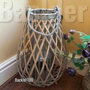 Large bulbous WICKER LANTERN candle holder Indoor display Hurricane 50cm