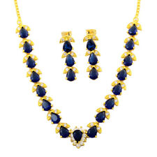 Fashion Pear Cut Blue Sapphire Yellow Gold Plated Earrings Necklace Jewelry Set