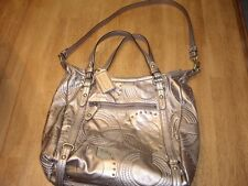 EUC Coach Dark Metallic Gold Embossed Soft Leather Shoulder Handbag Purse