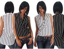 Gestreifte locker sitzende ärmellose hüftlange Damenblusen, - tops & -shirts