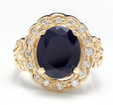 8.00Ct Natural Blue Sapphire & Diamond 14K Yellow Solid Gold Ring