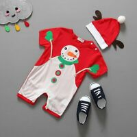 2pcs Christmas Baby Boys Girls Toddler Jumpsuit Romper Clothes Hat Outfits Sets
