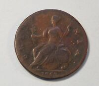 1753 Great Britain 1/2 Penny World Coin Colonial Copper England UK Britania