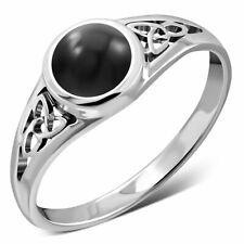 Celtic Trinity Knot-Sterling Silver 925 Ring- Black Onyx- Multiple Sizes