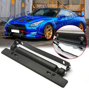 Front Bumper Adjust Carbon Fiber Style License Plate Holder For Nissan GTR 370Z