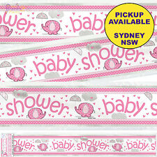 PINK ELEPHANT UMBRELLA GIRL BABY SHOWER PARTY SUPPLIES FOIL BANNER DECORATIONS