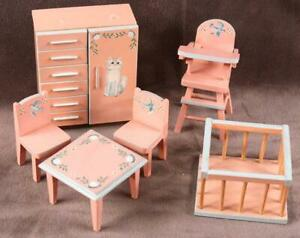 Antique Wooden Dollhouse Baby Furniture Set  Hand Painted West Germany