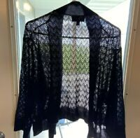 RN Studio By Ronni Nicole Women's Black Shrug 3XL Boho Crochet Flow Ripple Waves