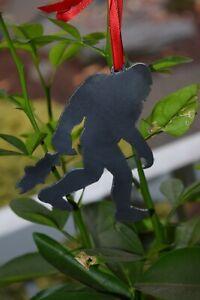 Sasquatch with Fish Ornament Metal | Bigfoot Ornament | Outdoors | Steel Yeti