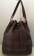 Vintage Mulberry Check Scotchgrain & Brown Nile Print Leather LGE Sharpham Bag
