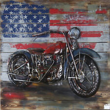 Harley Davidson with American Flag 3 Dimensional Wall Painting Decoration Metal