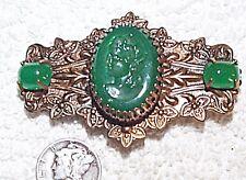 VINTAGE JADE GREEN GLASS INTAGLIO CAMEO & DETAILED BRASS PIN BROOCH