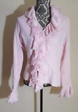 Anne Fontaine Jacket Blazer Size 4 Ruffle Pink White Tweed Zipper NWT