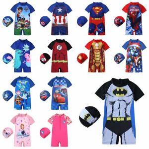 Boys Kids One Piece Surf Sun Suit Girls Swim Swimming Costume & Cap Beach Summer