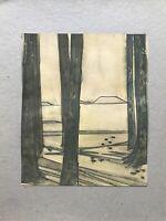 Georg Schott *1906 Bäume Wald Waldweg Lichtung Aquarell
