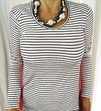 WITCHERY WOMENS BLOUSE TOP STRIPED BLACK WHITE CORAL VISCOSE BLEND SZ S
