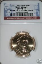 2007-P 2ND PRESIDENT JOHN ADAMS FIRST DAY ! NGC MS66 !