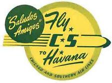 CS Airline  Havana CUBA Vintage 50s Style Travel Decal label sticker Habana