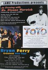 Dionne Warwick /Bryan Ferry /Toto 2004 Singapore Poster