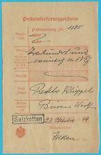 Postschein Empire Allemand avec Einzeiligem Rahmenstempel Salzkotten, 23.10.1909
