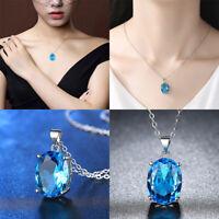 Fashion Women Blue Topaz Pendant Necklace Huge Gems Long Chain Jewelry Acces
