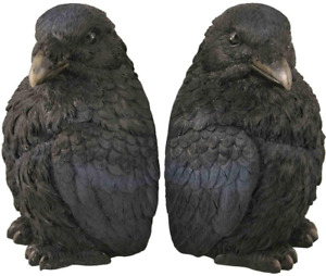 Raven Bookends Decor For Home Resin Black NEW