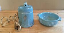 Vintage Hankscraft Ceramic Bottle Warmer / Vaporizer and Bowl Turquoise Blue