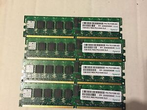 LOT OF 4 Apacer 1GB PC2-5300 DDR2-667MHz ECC Registered CL5 240-Pin DIMM Memory