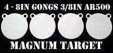 8 Inch AR500 Steel Gongs - 3/8in. Rifle / Pistol Targets - 4pc. Metal Target Set
