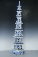 Chinese Beautiful Huge Rare Blue and white Porcelain pagoda H47.5