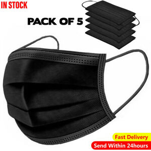5 x Black Face Mask Stylish Look Protective Face Covering Adults