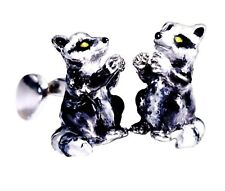 RACCOON CUFFLINKS, STERLING SILVER, ENAMEL by G.DANILOFF&CO. USA
