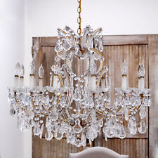 Shabby Cottage Chic Stunning Grand Vintage Chandelier Clear Drops Home Decor