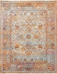 Vintage Style Animal Pictorial Distressed Heat-Set Area Rug Oriental Carpet