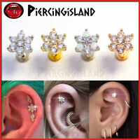 Opal Crystal Flower Ear Cartilage Helix Tragus Ring Bar Stud Piercing Earring