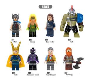 new MINIFIGURES lego MOC Super Heroes Thor Amora Jane Foster Hulk Sakaarian Guar