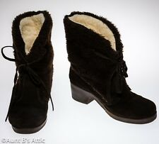 Boots Woman's Brown Suede & Faux Fur Slide On Winter Ankle Boots Size 8