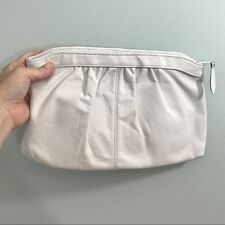 Vintage 1980s Medium White Leather Clutch Purse Handbag by Antonia