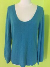 Women's 100% Cashmere Top XL Blue OLD NAVY Trumpet Sleeves Solid